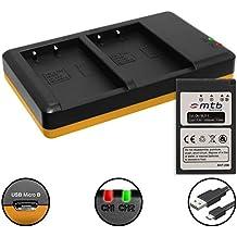 Batteria + Caricabatteria doppio (USB) per BLS-5, BLS-50 / Olympus Stylus 1(s) / PEN E-PL5, PL6, PL7, PL8, PM1, PM2 / OM-D E-M10 (Mark I / II / III) ... - v. lista! (Cavo USB micro incluso)