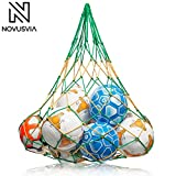 NOVUSVIA Premium Ballnetz [Gross & ROBUST] Balltragenetz Ball Carry Net [5 MM DICK] passend für 10-15 Bälle der Größe 5 [BESONDERS BELASTUNGSFÄHIG] mit Edelstahlring [HOHER Grün/Gelb
