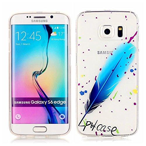 Funda Case KSHOP Para Samsung Galaxy S6 Edge Case Cover Carcasa Suave Flexible TPU Silicona gel Forro Delgada prevención de caídas - pulma azul