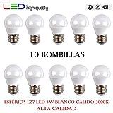 LED sphérique (Pack 10 unités) E27 4 W 200 ° blanc calido 3000 K 320LM 220 V-240 V haute qualité