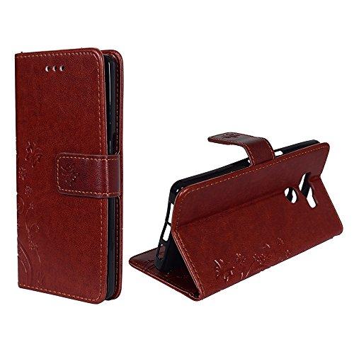 König-Shop Handy-Hülle für Elephone P9000 Tasche Case Cover Wallet Kunstleder Braun