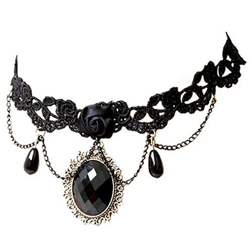 JewelryWe Gargantilla de encaje negra colgante gótico collar vintage retro de mujer, disfraza Halloween
