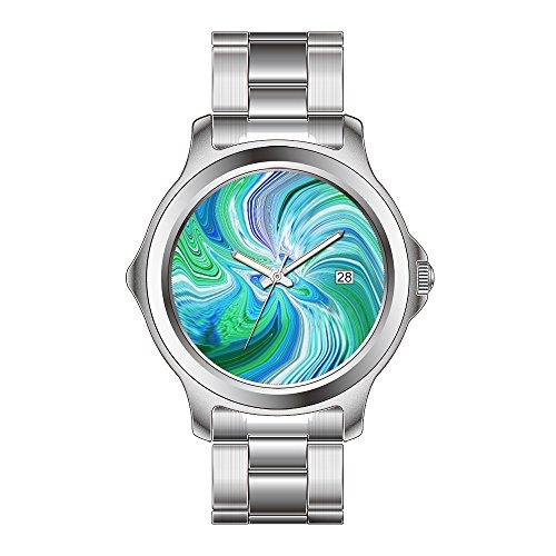 FDC Weihnachten Geschenk Uhren Damen Fashion Japanisches Quarz-Datum Edelstahl Armband Armbanduhr Abstrakt Angel Watch Retro-Modern