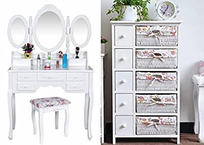 White Makeup 7 Drawers 3 Mirror Stool Storage Baskets Cosmetic Dressing Table UK | Dressing Table, Mirror & Stool Set| Premium Quality | - low-cost UK light store.