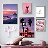 Puesta de sol Mar Playa Palmera Cisne Piña Arte de la pared Pintura de la lona Carteles nórdicos e impresiones de la pared Cuadros para la sala de estar Decoración Y 5 unids