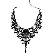 VANKER Mujeres Negro de encaje con cuentas Gargantilla collar de la joyería Collar Gargantilla