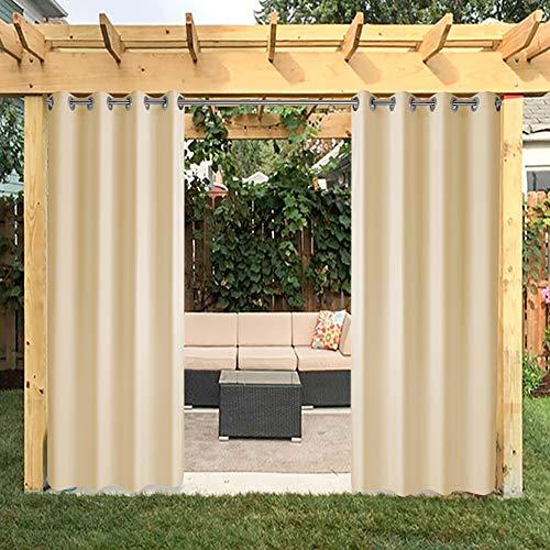 ng Panel Tüllen für Veranda Terrasse , Fenster Vorhang mit UV-Ray geschützt und Wasserdicht , Einfach zu Hängen auf 127x 243,8cm Beige ()