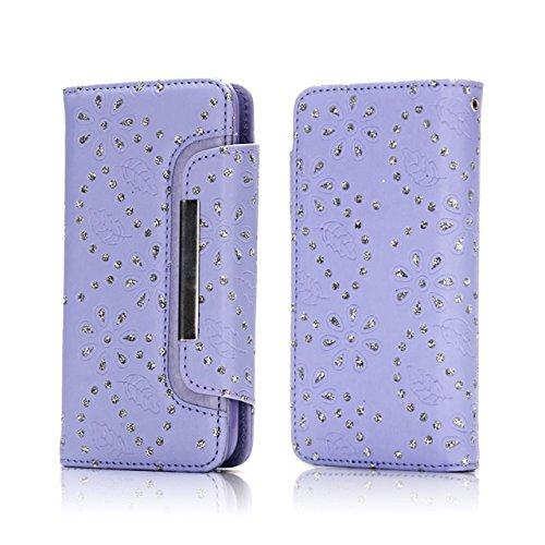 Ahorn Blätter Muster Magnetische Klappe Gürtelschnalle 2 in 1 Abnehmbare Tasche PU Leder Flip Stand Brieftasche Fall Deckung für iPhone 7 Plus ( Color : Rose ) Purple