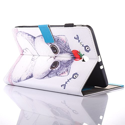 inShang T280 Cover per Samsung Galaxy TAB A 7.0 Inch T280 Custodia case in pelle PU,Supporto per Tenere il Tablet Samsung sollevato, Tomato and Cat
