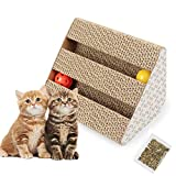 Old Tjikko Katzen Kratzbrett,Kratzbrett für Katzen mit Katzenminze,Kratzmöbel,Katzenspielzeug Beschaftigung,Kratzmatte Kratzbretter aus Recycebar Wellpappe (11'' x 9.4'' x 7'')