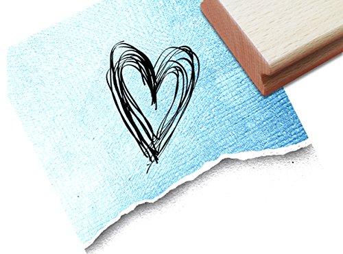 STEMPEL - Hübscher Motivstempel LINIENHERZ - 0069 - Bildstempel für Dinge, die dir am Herzen liegen - von zAcheR-fineT