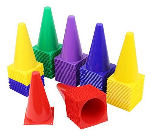 20 cônes de marquage et Set HAEST sport équestre - 23 cm - bleu - jaune - rouge - vert - bleu et jaune - lilas - sac inclus