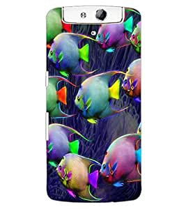 ColourCraft Beautiful Fishes Design Back Case Cover for OPPO N1
