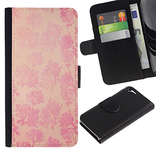 Paccase / Portafoglio del Cuoio di vibrazione del Titolare della carta Custodia per - vintage rustic wallpaper pink floral pattern - Apple Iphone 5 / 5S
