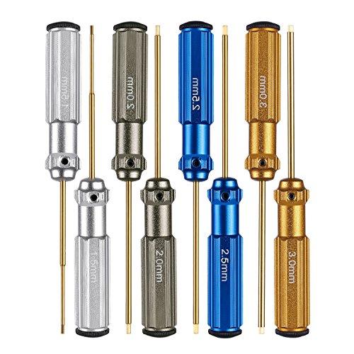Neewer® 2er Pack Titan-Nitrid kleine Sechskant -Schraubendreher Schraubenschlüssel 4-teiliges Set 1.5mm / 2mm / 2,5mm / 3,0mm