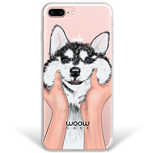 iPhone 7 Plus Hülle, WoowCase® [Hybrid] Handyhülle PC + Silikon für [ iPhone 7 Plus ] Husky-Hunde Sammlung Tier Designs Handytasche Handy Cover Case Schutzhülle - Transparent Hybrid Hülle iPhone 7 Plus H0014