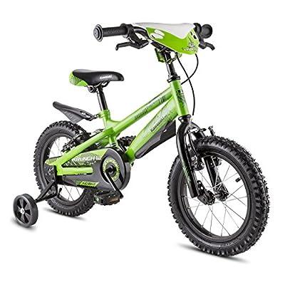 Kawasaki Krunch 12 Kinderfahrrad kleines Mini Fahrrad für Jungen (mit Stützräder, 2 Bremsen, Kettenschutz, Höhenverstellbarer Sattel, im Cross Kawasaki-Design) grün