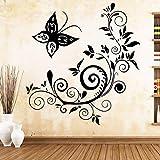 Cute Butterfly Art Sticker Etiquetas de pared impermeables para sala de estar Habitación de niños Decoración de pared Murales negro 43cm X 45cm