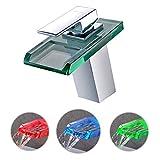 LED Waschtischarmaturen, BONADE Wasserfall Wasserhahn Bad Glas Einhebelmischer Waschbecken Armatur Mischbatterie mit 3 Farbewechsel für Bad Badezimmer WC