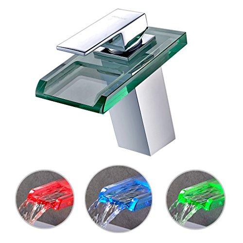 LED Waschtischarmaturen, BONADE Wasserfall Wasserhahn Bad Glas Einhebelmischer Waschbecken Armatur Mischbatterie mit 3 Farbewechsel für Bad Badezimmer WC -