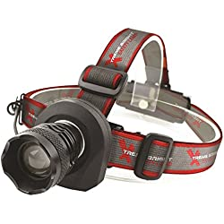 Xtreme Bright Safety Headlamp Black-Red Flashing Light on Back. Perfect Automotive Spot Light Great Addition To Camping & Hiking Equipment. Ideal Reliable LED Flashlight Or Portable Work Light