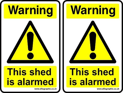 2-x-self-adhesive-warning-this-shed-is-alarmed-sign-warning-sign-100-x-150-mm-by-ellis-graphix