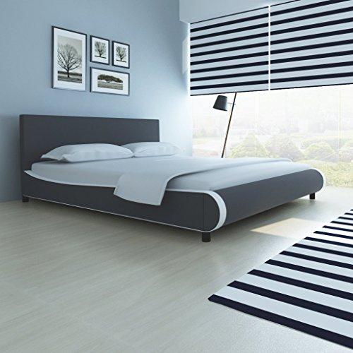 Anself Polsterbett Doppelbett Bett Ehebett aus Kunstleder 180x200cm ohne Matratze Grau