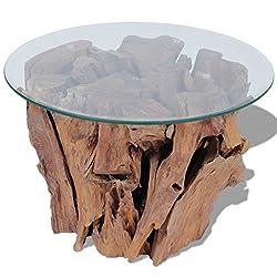 vidaXL Coffee Table End Side Solid Teak Driftwood 60 cm Living Room Home Decor