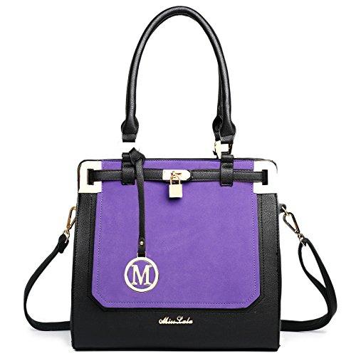Borsa portaoggetti a tracolla da donna, in pelle, elegante oggetto di design nello stile delle celebrità viola