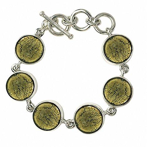 """Gabriella Nanni, Bracelet en argent 925avec verre de Murano-Verre Non déclaré-Bracelet Ronds """" olive"""