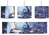 futuristisches Raumschiff vor der Erde Kunst Pinsel Effekt inkl. Lampenfassung E27, Lampe mit Motivdruck, tolle Deckenlampe, Hängelampe, Pendelleuchte - Durchmesser 30cm - Dekoration mit Licht ideal für Wohnzimmer, Kinderzimmer, Schlafzimmer