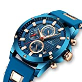 Herren Uhren Männer Wasserdicht Sport Chronograph Große Rose Gold Armbanduhr Mann Luxus Leuchtende Datum Kalender Analoge Blau Gummi Uhr