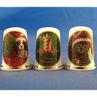 Porcelana China dedales Juego de tres – feliz Navidad