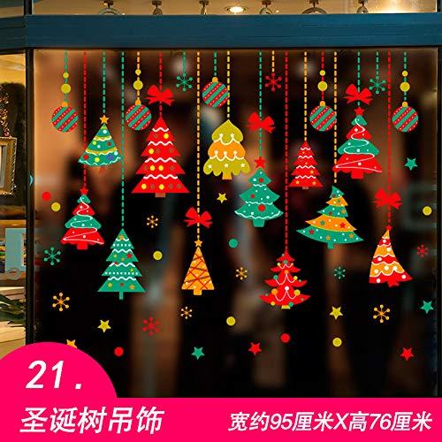 HAPPYLR Weihnachten Aufkleber Wandaufkleber Fenster Fensterglas Tür Klassenzimmer Tür Dekoration Dekoration, 21 Weihnachtsbaum Charme