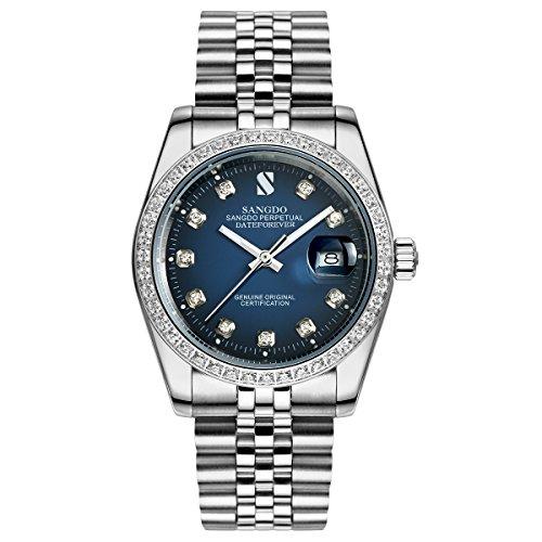 Topwatch® Sangdo - Orologio automatico da polso da uomo con zirconi, lunetta con dettagli diamantati, quadrante blu, cinturino argentato - 18k Quadrante Blu