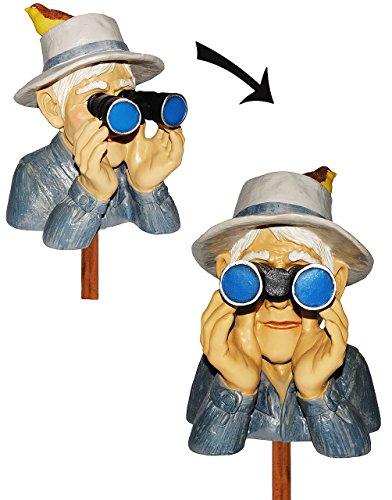 Unbekannt Jäger / Opa mit Hut, Vogel & Fernglas - als  Spanner am Gartenzaun  - aus Kunstharz - große XL Figur - Gartenzwerg / Gartendeko Garten - Nachbar Reisen Urla..