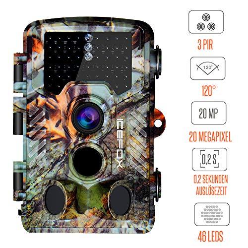 Icefox Wildkamera 20MP 1080P 46 IR LEDs Nachtsicht bis zu 65ft mit Wasserdichte Überwachungskamera für Wildtierjagd und Heimsicherheit