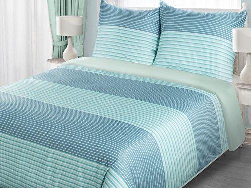 Bettwäsche, Bettbezüge KIM TÜRKIS 135x200cm mit Kissenbezug 80x80cm, 100% Satin Baumwolle Bettwäschegarnituren
