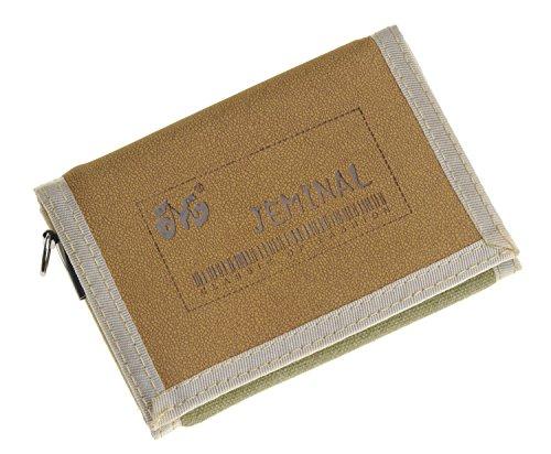 QISHI YUHUA JML da uomo Sport e tempo libero 3Fold breve borsa tela Portafogli, Grey (grigio) - QHISHI YUHUA JML011 Khaki
