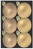 Confezione da 12 Champagne bagattelle di sei centimetri - Glitter e finitura opaca - Decorazione albero di Natale