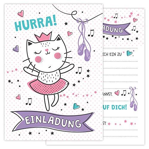 Einladungskarten Geburtstag Kinder Bono Digital - 12 Einladungen für Kindergeburtstag zum selber beschriften inkl. 12 Umschläge - Süße Geburtstagseinladungen für Mädchen - Rosa Katze als Prinzessin