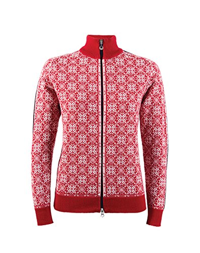 Dale of Norway Damen Jacke Frida Jacket, Raspberry/Off White/Navy/Metal, M, 82931-B (Womens Cycle Jacken)