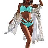 ODJOY-FAN Tinta Unita Bikini Diviso Costume da Bagno Intero per Donna Costumi Bagno Donne Due Pezzi Capestro Bendare Foglie di Fiori Stampa Mare Spiaggia Estate