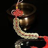 bwinka Chinesische Glücksmünzen an rotem Faden Kordel Feng Shui für Reichtum und Erfolg Beste Geschenk