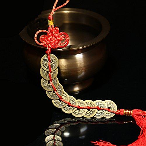 BWINKA BWinka Chino afortunado monedas encanto en Auspicious Red Cordon Feng Shui para la riqueza y el exito mejor regalo
