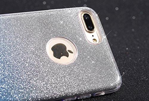 "Etsue Glitter Silikon Schutzhülle für iPhone 7 Plus 5.5"" 2016 TPU Case, Bling Glitter Abnehmbare ultradünne TPU Bumper Case Sparkles Glänzend Glitzer Silikon Crystal Case Durchsichtig Soft Rückseite C Gradient,Blau"