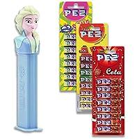 Dispensador PEZ Elsa y paquete de 3 recargas. 1 mezcla de frutas, 1 cola.
