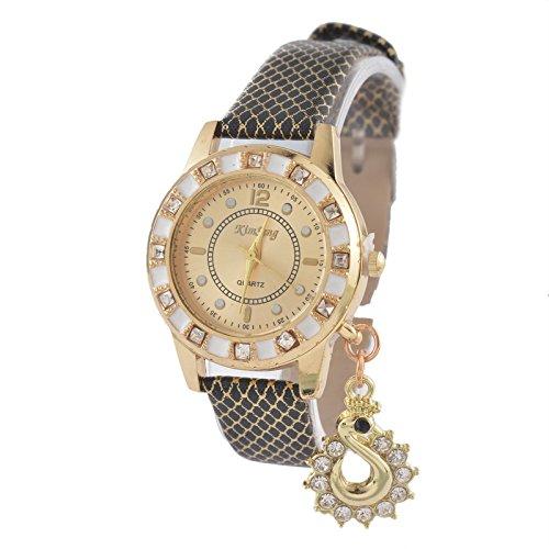 Souarts-Artificial-Leather-Rhinestone-Pendant-Round-Dial-Quartz-Wrist-Watch