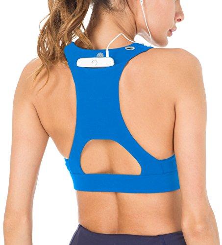 QUEENIEKE Damen Medium Support Riemchen Zurück Energy Sport BH Baumwolle Gefühl Farbe Blau Tasche Größe S - Stretch-baumwolle-glatte Fit Bh