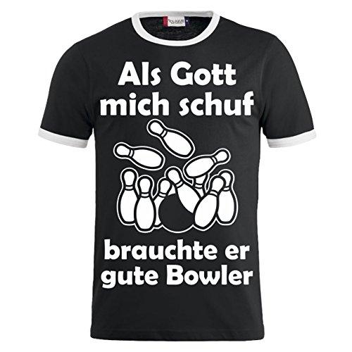 Männer und Herren T-Shirt Als Gott mich schuf - BOWLER (mit Rückendruck) Schwarz/Weiß